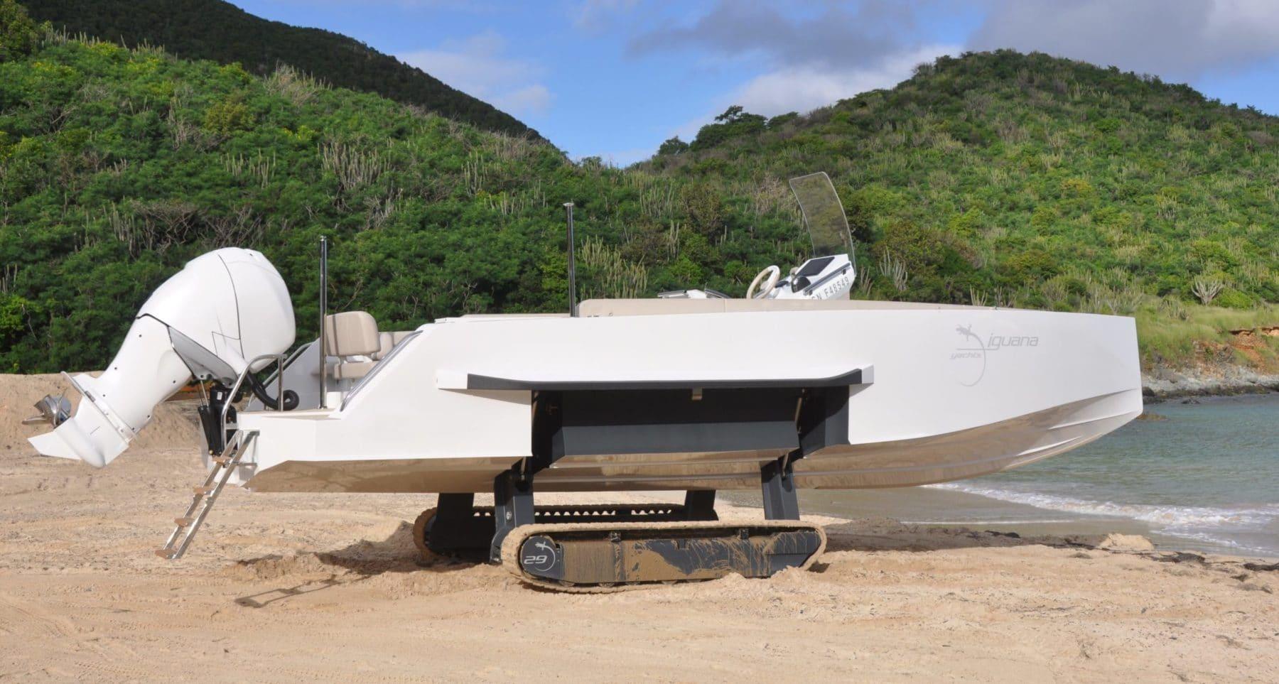 Beach amphibious boat with tracks
