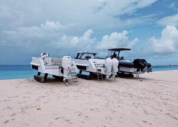 Amphibious boats with tracks on the beach