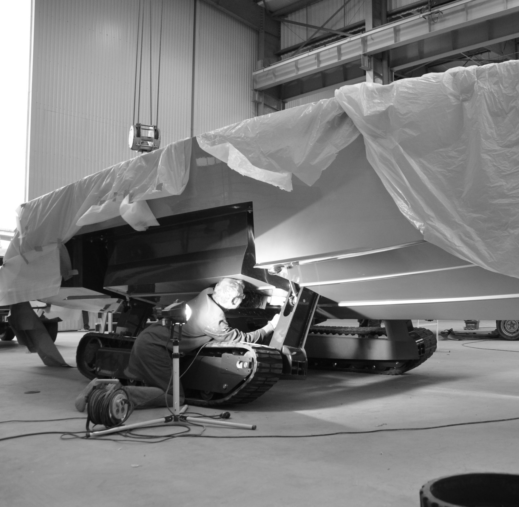 Engineer building an amphibious boat