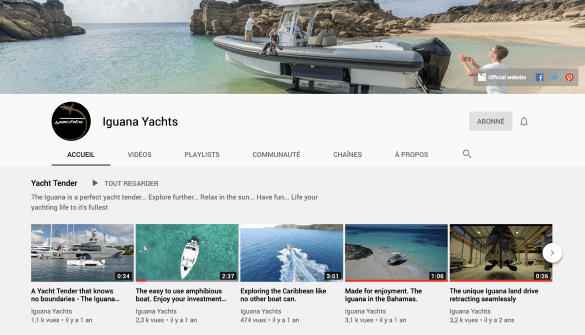 YouTube channel of Iguana Yachts