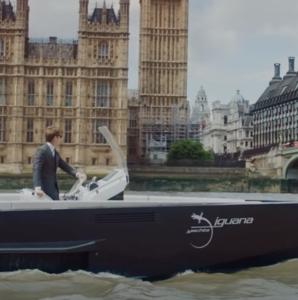Black amphibious Iguana Original boat at sea in London