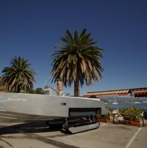 Iguana boat with tracks parked