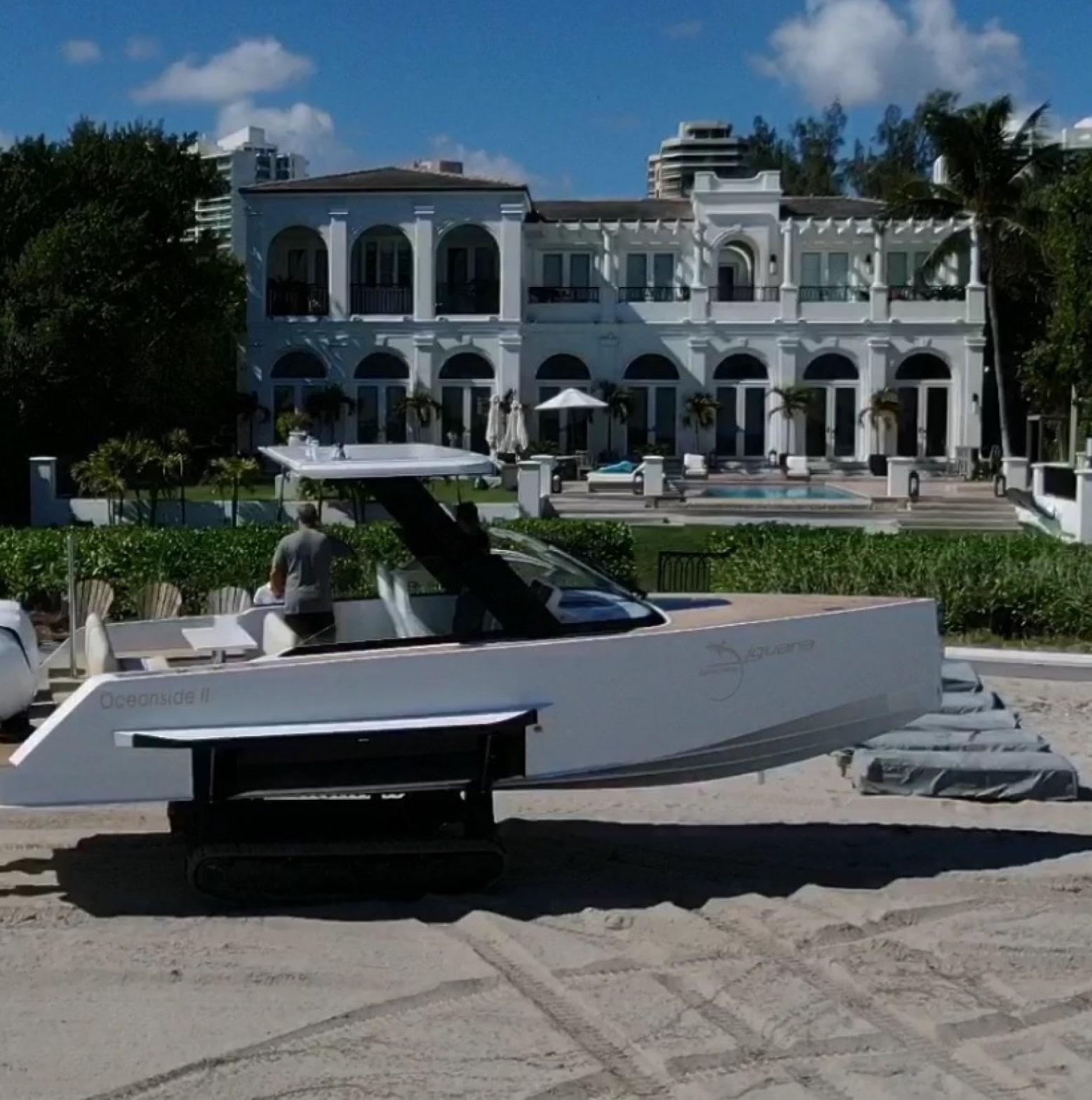 Waterfront hotel with an Iguana Original amphibious boat