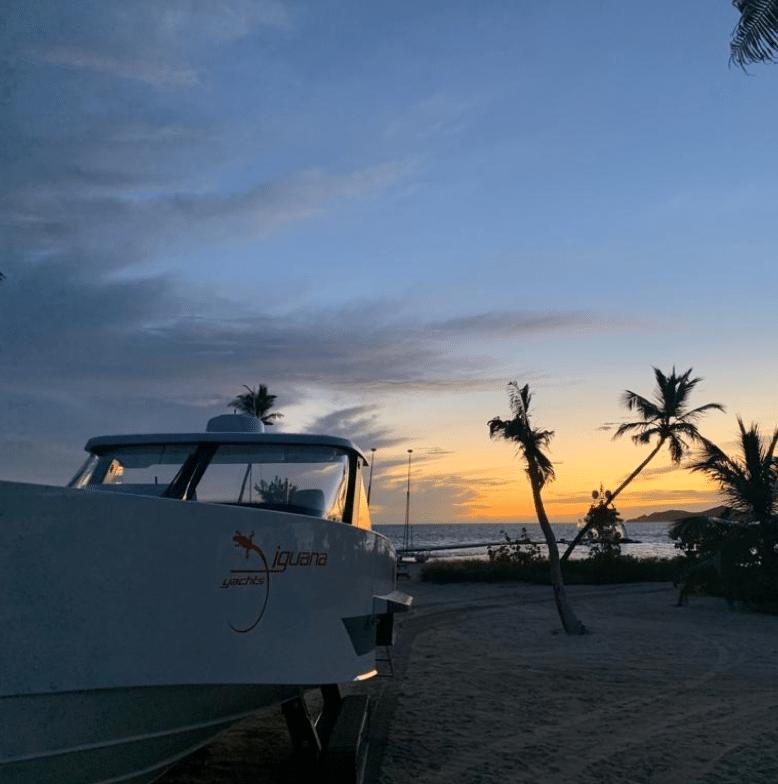 Parking boat on land