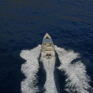 Amphibious boat at sea