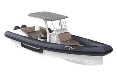 Functional amphibious black and white boat Iguana X-100